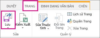 Chọn Trang rồi chọn Lưu.