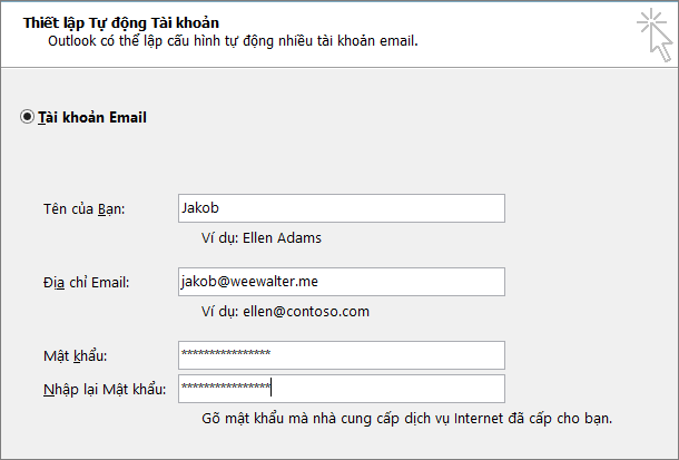 Nhập mật khẩu ứng dụng của bạn trong cả hai hộp Mật khẩu.