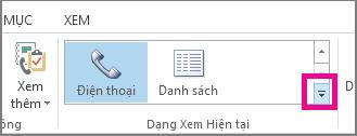 Nhóm Dạng xem Hiện tại trên tab Trang đầu