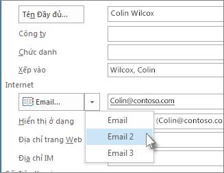 Thêm một địa chỉ email bổ sung cho một liên hệ