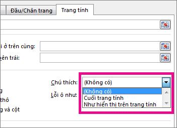 Trên tab Trang tính, hãy chọn tùy chọn bên dưới Chú thích