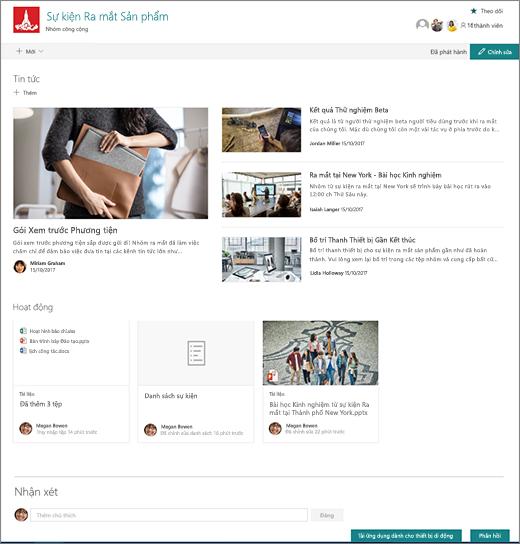 Trang chủ site nhóm SharePoint