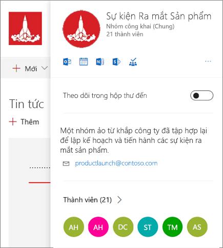 Nhóm Office 365 thẻ đầy đủ