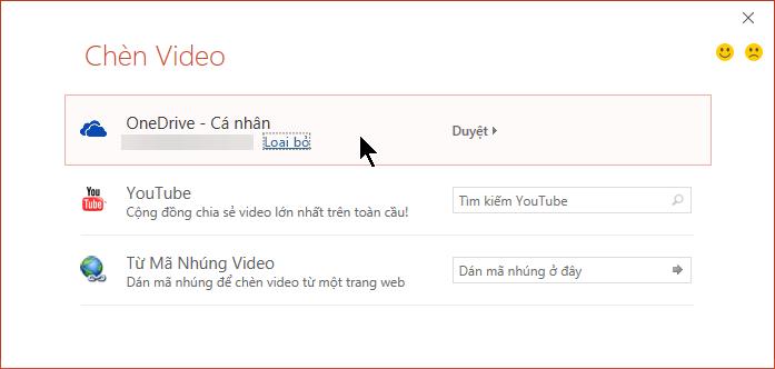 Hộp thoại Chèn Video bao gồm một tùy chọn để mở thao tác nhúng video từ OneDrive.