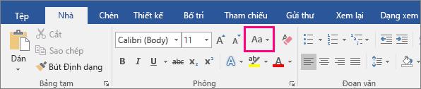 Nút Đổi Chữ hoa/thường được tô sáng trên tab Trang đầu.