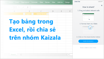 Ảnh chụp màn hình: Tạo bảng trong excel và chia sẻ trên một nhóm kaizala