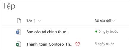 Ảnh chụp màn hình của tệp trong OneDrive for Business với một phát hiện dưới dạng độc hại