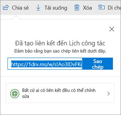 Sao chép xác nhận Liên kết khi chia sẻ tệp qua liên kết trong OneDrive