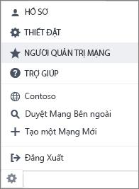 Ảnh chụp màn hình thiết đặt menu với quản trị mạng được tô sáng