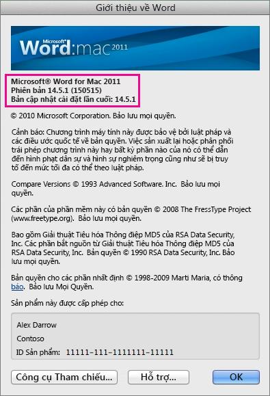 Word cho Mac 2011 hiển thị trang Giới thiệu về Word