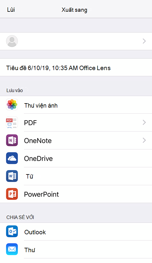 Tùy chọn xuất trong Office Lens for iOS