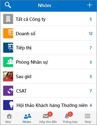 Ảnh chụp màn hình các nhóm trong ứng dụng di động của Yammer