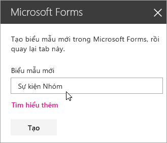 Pa-nen phần web Microsoft Forms dành cho biểu mẫu mới.