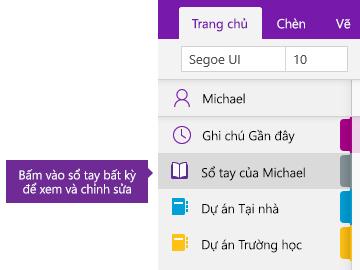 Ảnh chụp màn hình danh sách Sổ tay trong OneNote