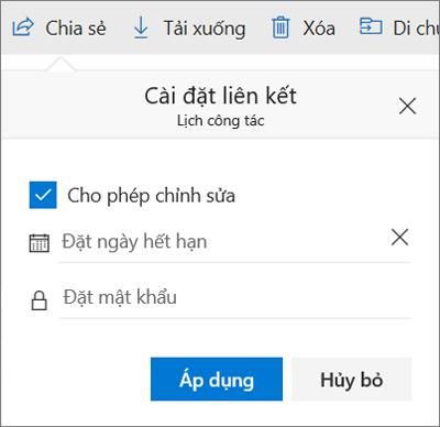 Tùy chọn Cài đặt Liên kết để chia sẻ tệp trong OneDrive