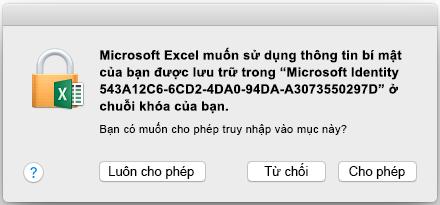 Lời nhắc nhập chuỗi khóa trên Office 2016 for Mac
