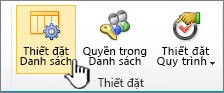 Nút thiết đặt danh sách trên ruy-băng của trang