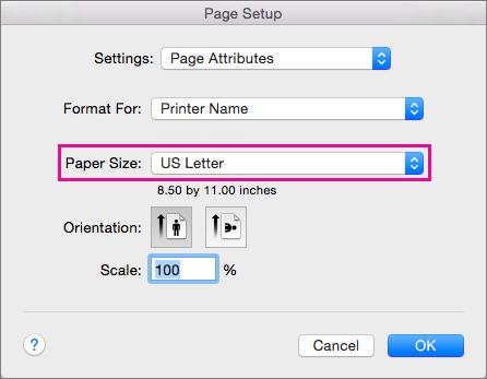 Chọn kích cỡ giấy hoặc chọn tạo kích cỡ tùy chỉnh bằng cách chọn từ danh sách Kích cỡ giấy.