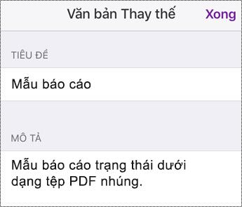 Thêm văn bản thay thế vào tệp nhúng trong OneNote for iOS
