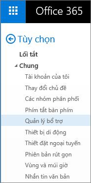 """Ảnh chụp màn hình mục Chung trong menu Tùy chọn của Outlook, với tùy chọn """"Quản lý phần bổ trợ"""" được tô sáng."""