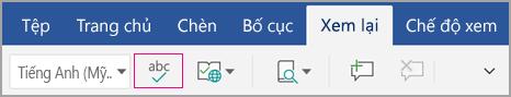 Biểu tượng kiểm tra chính tả trên tab xem lại