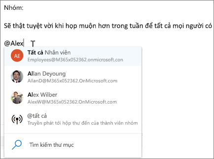 @mentions trong Outlook trên web