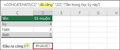 Lỗi #NAME? xảy ra do thiếu dấu ngoặc kép trong giá trị văn bản