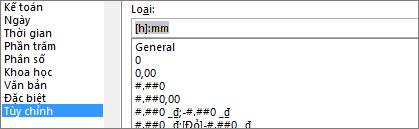Hộp thoại Định dạng Ô, lệnh Tùy chỉnh, loại [h]:mm