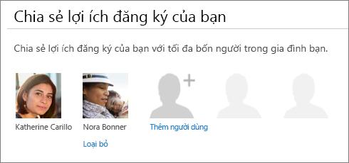 """Ảnh chụp màn hình của phần """"Chia sẻ lợi ích thuê bao của bạn"""" của trang chia sẻ Office 365 Hiển thị nối kết """"Loại bỏ"""" bên dưới ảnh của người dùng."""