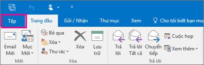 Giao diện của dải băng trong Outlook 2016