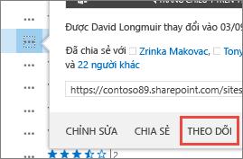 Chọn lệnh Dõi theo trong menu thẻ di chuột trong OneDrive for Business