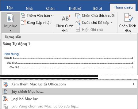 Tùy chọn Tùy chỉnh Mục lục được hiển thị trên menu Mục lục.