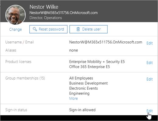 Ảnh chụp màn hình của một người dùng đăng nhập trạng thái trong Office 365