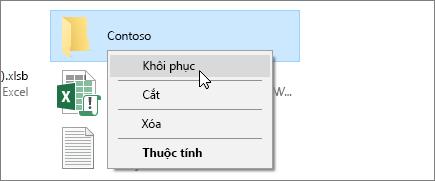 Ảnh chụp màn hình hiển thị tùy chọn Khôi phục trong Thùng Rác của Windows.