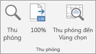 Nhóm Thu phóng trên ribbon Excel