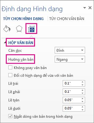 Chọn hướng văn bản trong ngăn Định dạng hình