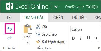 Nút Hoàn tác trên tab Trang đầu