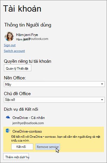 Ngăn tài khoản trong các ứng dụng Office, tô sáng tùy chọn ' loại bỏ dịch vụ ' bên dưới dịch vụ được kết nối