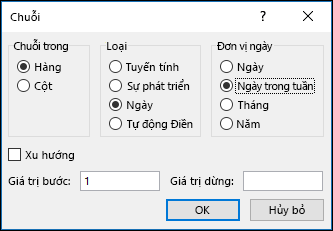 Excel điền > tùy chọn Chuỗi