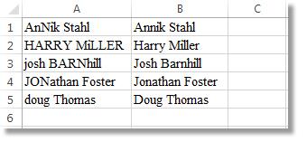 Công thức được sao chép xuống cột B, tất cả các tên đã có kiểu chữ thích hợp