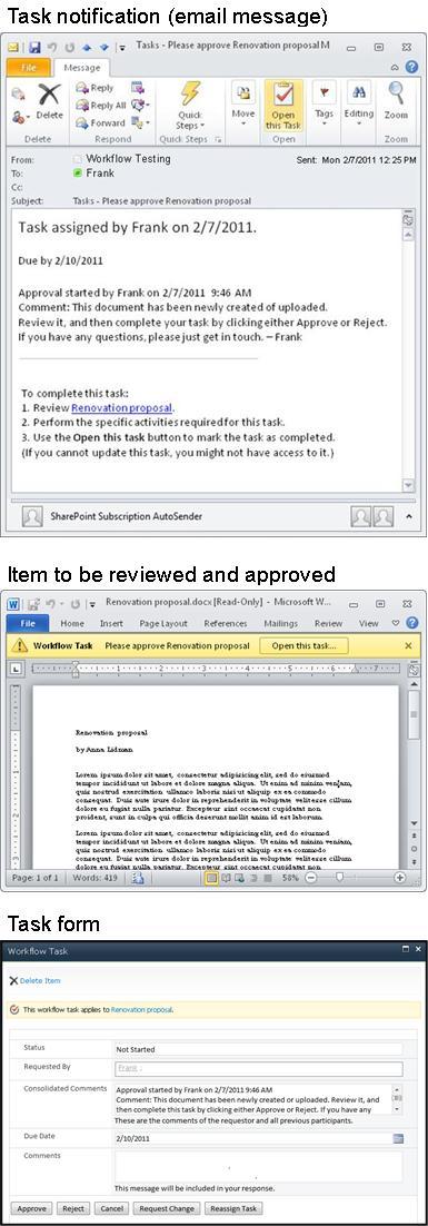 Tin nhắn thông báo nhiệm vụ, mục cần xem xét và biểu mẫu nhiệm vụ