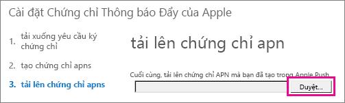 Tải lên chứng chỉ mà bạn đã tạo trên Apple push certificate portal.