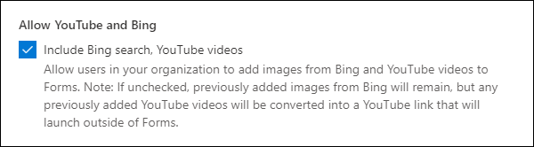 Thiết đặt quản trị Microsoft Forms cho YouTube và Bing
