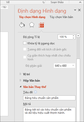 Ảnh chụp màn hình ngăn Định dạng Hình có hộp Văn bản Thay thế mô tả bảng đã chọn