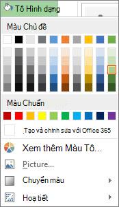 Menu tùy chọn Màu Tô Hình dạng