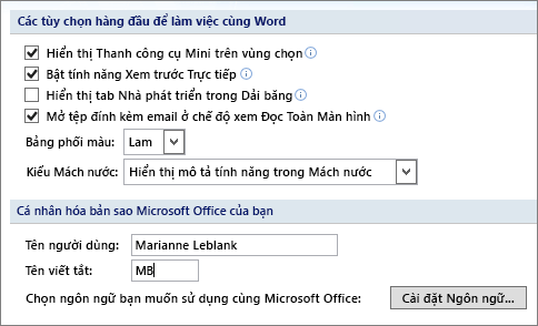 Tùy chọn phổ biến Word 2007