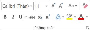 Các tùy chọn định dạng văn bản trong nhóm Phông chữ