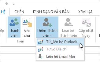 Thêm Thành viên Từ Liên hệ Outlook.