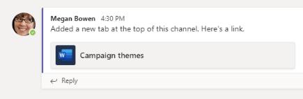 Đăng thông tin về một tab trong một kênh