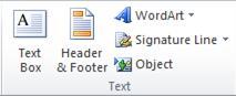 Nhóm Văn bản trên tab Chèn trong ruy-băng Excel 2010.